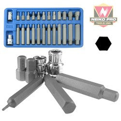 26pc. NEIKO PRO S2 Hex Power Bit Set, SAE