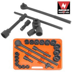 "NEIKO 21pc. Set, 3/4""dr. Impact Sockets, Ratchet, Breaker Bar & Extentions (SAE, CrV)"