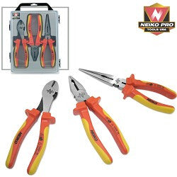 NEIKO PRO 3pc. Set, Insulated Pliers - Contractor's Grade 1000 Volt