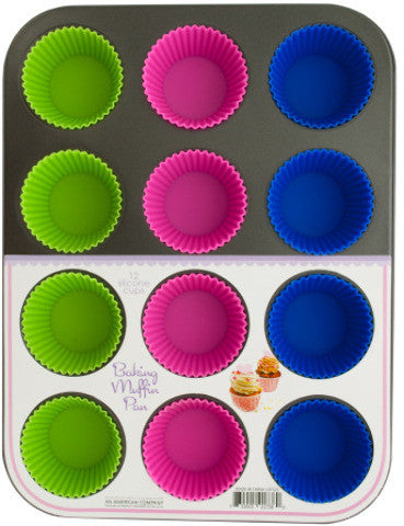 muffin-baking-pan-with-silicone-cups