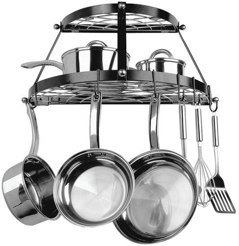 range-kleen---double-shelf-wall-mount-pot-rack-(black)