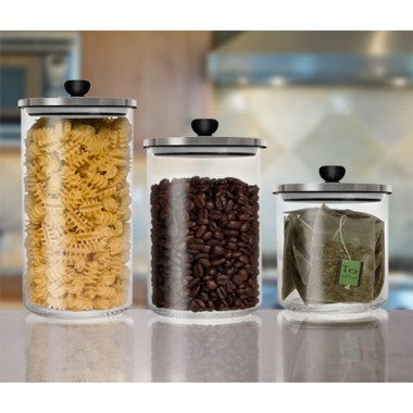 Final Touch Glass Storage Jar with Vacuum Sealed Lid (Set of 3)