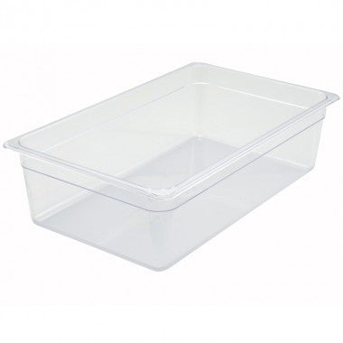 "Full Size Clear Polycarbonate Food Pan, 6"" Deep"