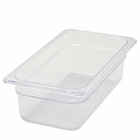 "1-3 Size Clear Polycarbonate Food Pan - 4"" Deep"