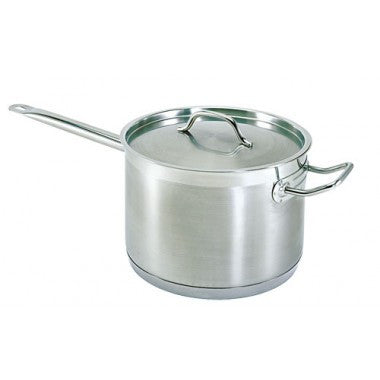 "Stainless Steel Sauce Pan with Cover - 7.6 qt. - 9.5"" x 6.25"""