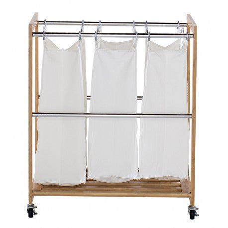 TRINITY ECOSTORAGE™ 3-BAG BAMBOO LAUNDRY CART – CHROME POLES