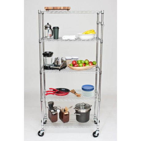 "TRINITY ECOSTORAGE™ 5-TIER WIRE SHELVING RACK | 36"" X 18"" X 72"" 