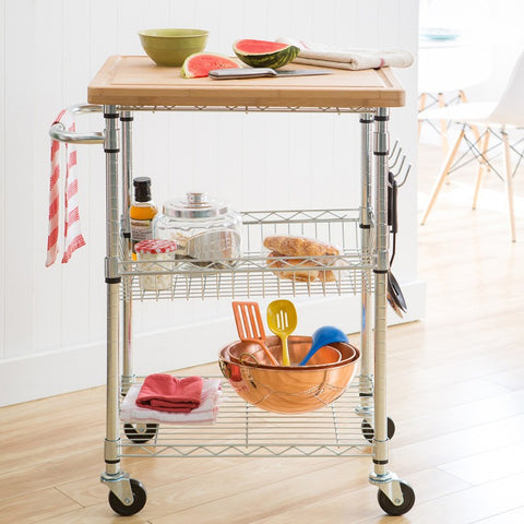 TRINITY ECOSTORAGE™ BAMBOO KITCHEN CART - CHROME