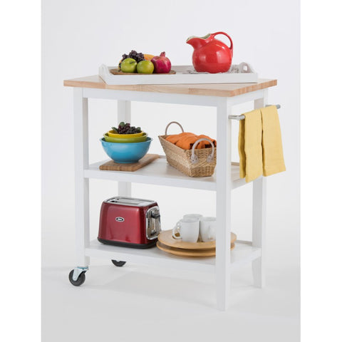 TRINITY WOOD KITCHEN CART W/ PULL-OUT TRAY