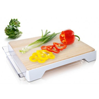 VacuVin Bamboo Cutting Board with Sliding Tray