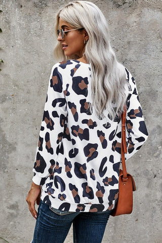 White Navy Leopard Crew Neck