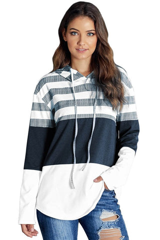 White Navy Striped Hoodie