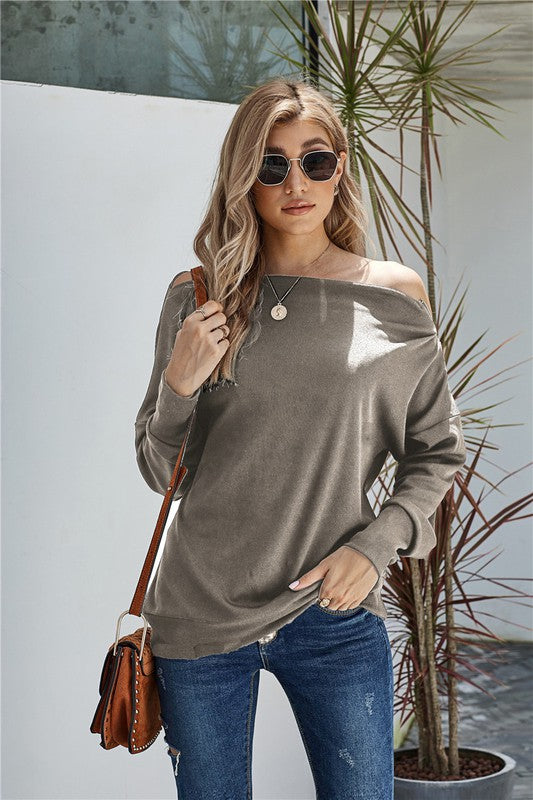 Taupe Zipper Boat Neck Sweater