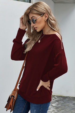 Cabernet Zipper Boat Neck Sweater