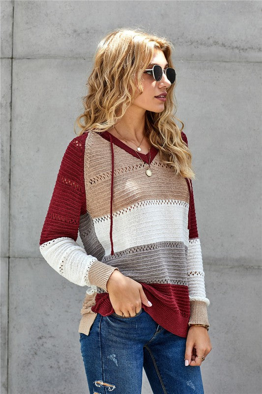 Hooded Stripe Sweater Cabernet
