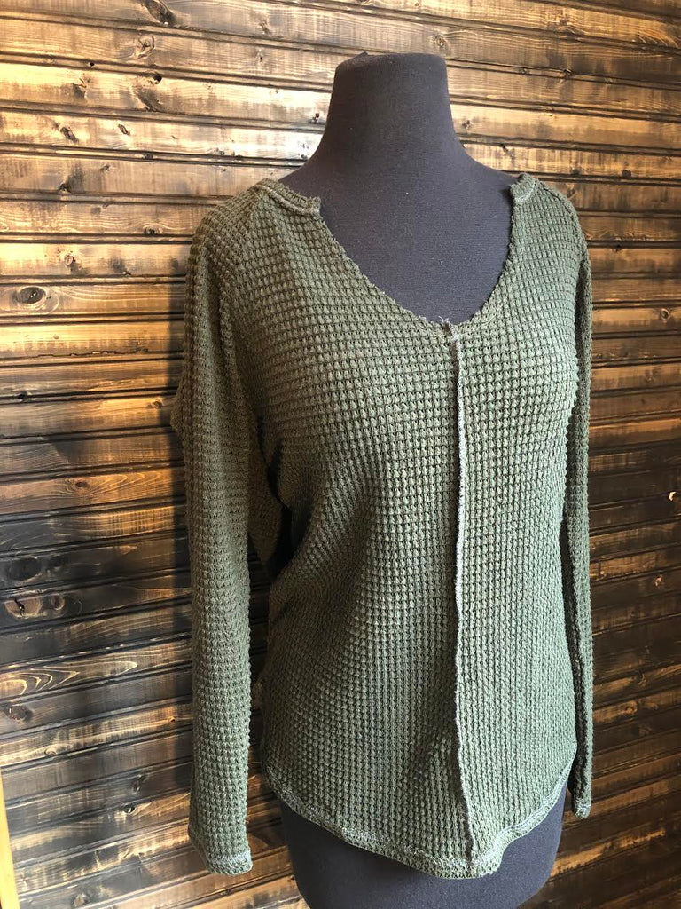 Olive Waffle Top