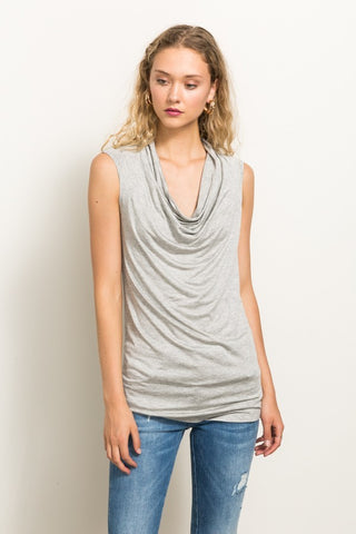 Heather Grey Cowl Neck
