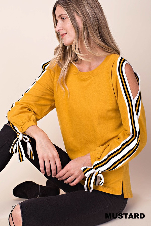 Kori Mustard Split Sleeve Top