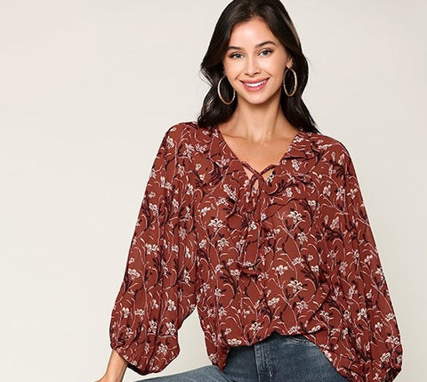 Gigi Ruffle V Neck Top Red