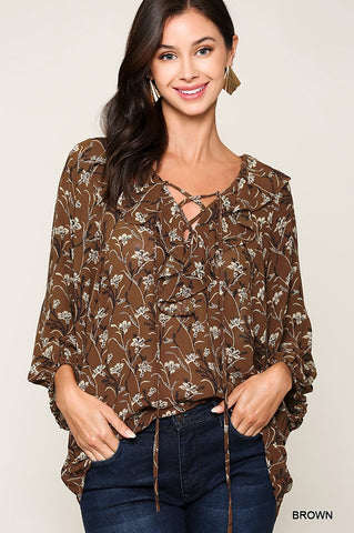 Gigi Ruffle V Neck Top Brown