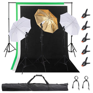 "Yescom 3 Point 33"" Umbrella Studio Lighting Kit with Backdrops"