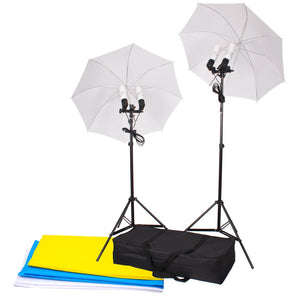 "Yescom 33"" Umbrella Constant Photo Lighting 2 Backdrops Kit"