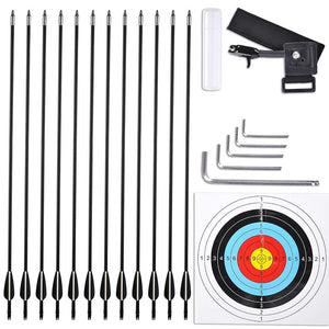 Yescom Archery Compound Bow Kit & 12 Carbon Arrows Fishing Bow Camo