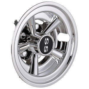 Yescom SS Golf Cart Hub Caps Set (4) 8 in Chrome EZGO Club Car Yamaha