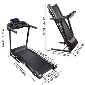 Yescom 3.0HP Foldable Treadmill Electric Running Machine Black 49x18in
