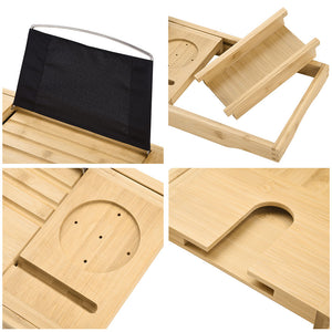 Aquaterior Bamboo Bathtub Bathroom Tray with Extending Sides