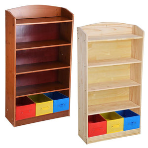 "5 Shelf 47""H 3 Bins Bookshelf Bookcase Wood Color Options"