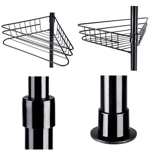 Aquaterior 4 Baskets Bathtub Corner Shower Caddy Adjustable Pole Black