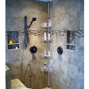 Yescom 4 Baskets Bathtub Corner Shower Caddy Adjustable Pole Silver