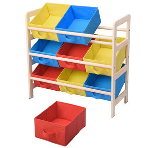Yescom 3 Tires Kids Toys Color Organizer Wood Shelf 9-Bin Storage