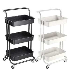 Aquaterior 3 Tiers Rolling Utility Cart Mobile Trolley w/ 4-Wheel