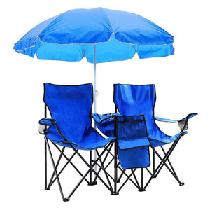 Yescom Picnic Double Camping Chair w/ Umbrella Cooler