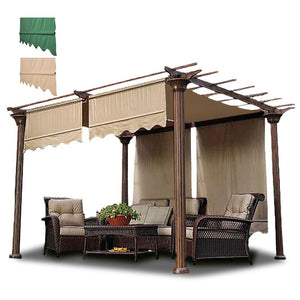 "Yescom 2x 15'7"" x 4'3"" Replacement Pergola Shade Canopy Tan/ Green"