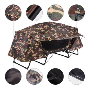 Yescom Camouflage Folding Off Ground Camping Tent Rain Fly