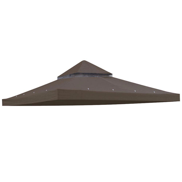 Yescom 12' x 12'(11.4x11.4ft) Brown Gazebo Replacement Canopy Dual-Tier (Preorder)