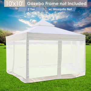 Yescom 10' x 10' Ivory Canopy Replacement Top with Net
