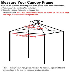 Yescom 8' x 8' Gray Gazebo Canopy Replacement Top 2-Tier