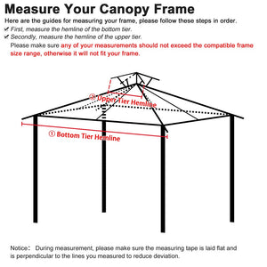 Yescom 10' x 10' Gazebo Canopy Replacement Top 2-Tier