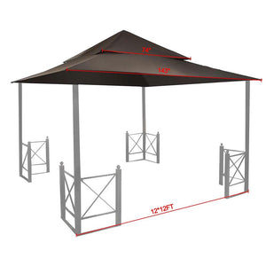 Yescom 2-tier 12Ft Gazebo Replacement for Harbor Gazebo GFS01250A Color Opt