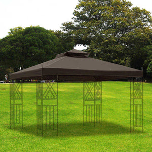 Yescom 2-tier Brown/ Beige Gazebo Replacement for 12x10 Sunjoy L-GZ288PST-4D