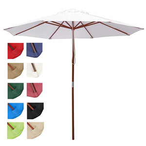 Yescom 9ft Patio Wood Market Umbrella Multiple Colors