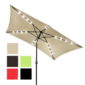 Yescom 10'X6.5' Solar Rectangle Outdoor Tilt Patio Umbrella Multiple Colors