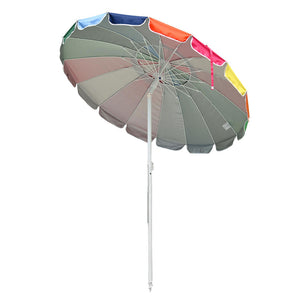 Yescom Rainbow Beach Umbrella Tilt 7 ft 16-rib w/ Anchor