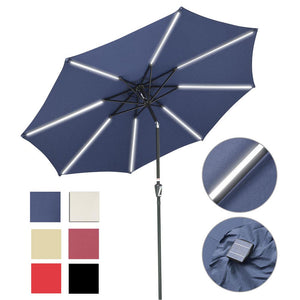 Yescom Solar Umbrella w/ Lights Tilt Market Umbrella 10ft 8-Rib