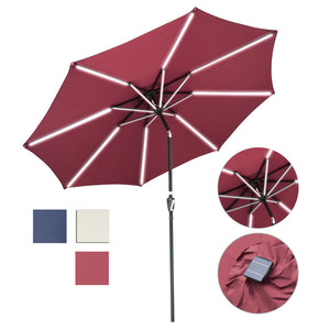 Yescom Solar Patio Umbrella w/ Lights Tilt Parasol Umbrella 9 ft 8-Rib