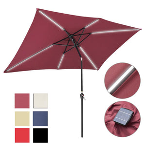 Yescom Rectangular Patio Umbrella with Solar Lights 10x6.5 ft 6-Rib